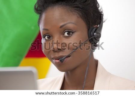 Helpline lady with phone headset on the job