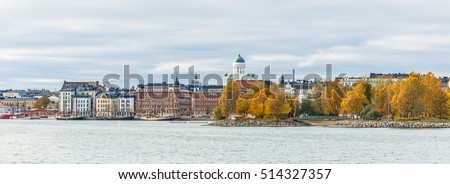 Helsinki city view from sealine front in autumn