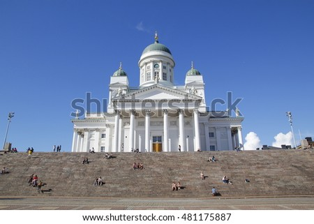 HELSINKI, FINLAND - JULY 30, 2016: Finnish Evangelical Lutheran cathedral of Helsinki, Finland. The church was originally built from 1830-1852