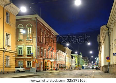 "HELSINKI, FINLAND - SEPT 26, 2015:Aleksanterinkatu is street in centre of Helsinki. Street, colloquially known in Helsinki as ""Aleksi"", was named for Tsar Alexander I of Russia in 1833"