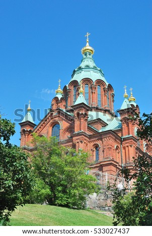 Helsinki, Finland. Uspenski Orthodox Cathedral in a sunny summer day