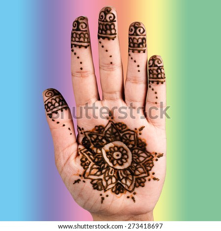 Henna hand tattoo decoration art clipping path square color background