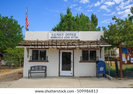 HENRIEVILLE, UTAH: August 2016 - A small post office building in Hanrieville, UT