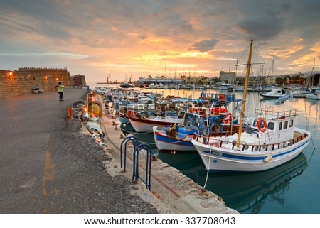 Heraklion, Greece - October 22, 2015: Venetian fortress in the old harbour of Heraklion in Crete, Greece