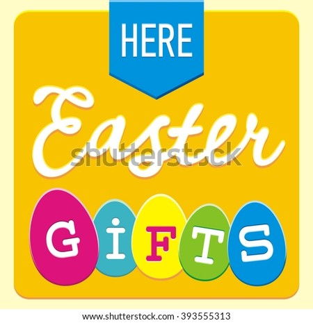 Happy easter card making silhouettes eggs stock illustration here easter gifts sign illustration with ribbon arrow calligraphy font and different form colorful negle Image collections