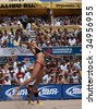 HERMOSA BEACH, CA. - AUGUST 8: Jen Kessy and April Ross vs. Nicole Branagh (pictured) and Elaine Youngs for the womens final of the AVP Hermosa Beach Open. August 8, 2009 in Hermosa Beach. - stock photo