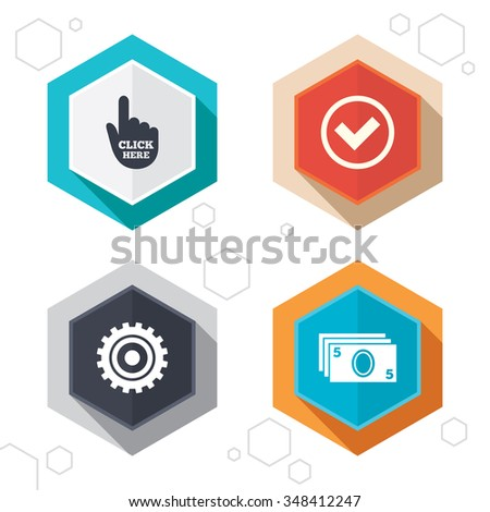 Hexagon buttons. ATM cash machine withdrawal icons. Click here, check PIN number, processing and cash withdrawal symbols. Labels with shadow.