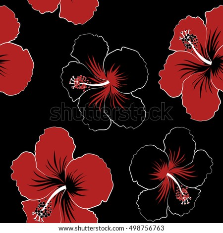 Hibiscus Flowers On A Black Background In Trendy Style Hawaiian Tropical Natural Floral Seamless