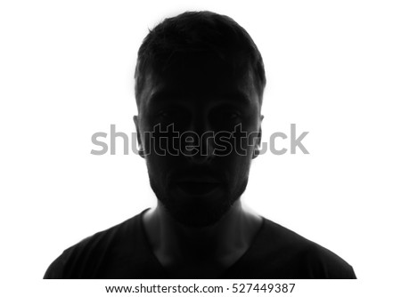 Hidden face in the shadow.male person silhouette