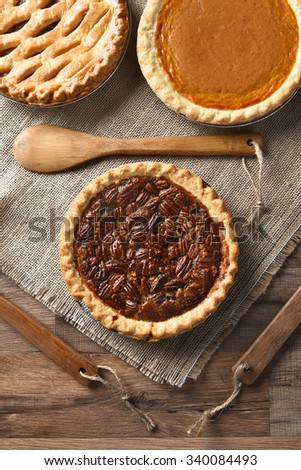Overhead View Three Pies Thanksgiving Holiday Stock Photo
