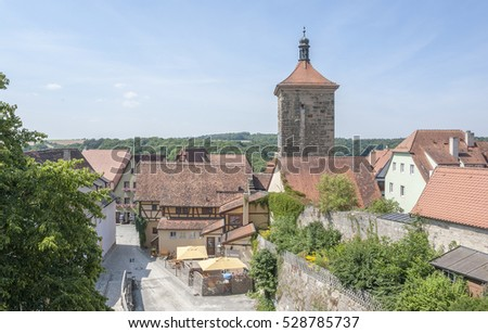 high angle view of Rothenburg ob der Tauber, a town in Middle Franconia in Bavaria, Germany
