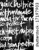 high contrast handwritten chalk menu on blackboard - stock photo