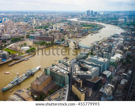 High dynamic range HDR Aerial view of River Thames in London, UK
