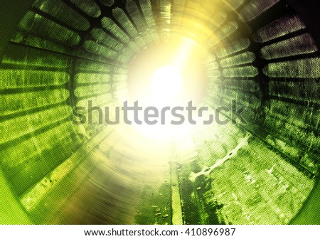 High energy light tunnel or science fiction hyperspeed illustration