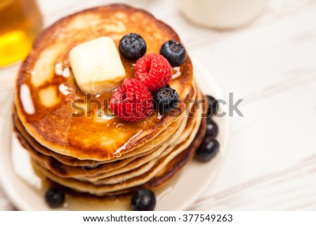 High pile of delicious pancakes