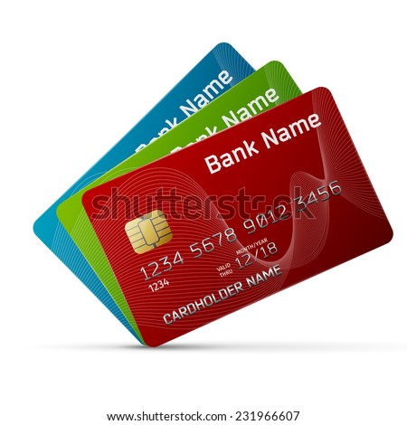 High quality and very detailed realistic illustration of a plastic credit card. Isolated on white.