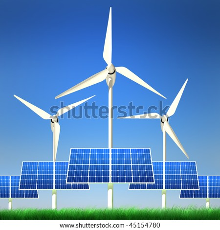 High quality image of solar panel and wind turbine standing in a grass field against clean blue sky with clipping path. Alternative power & energy concept