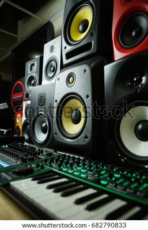 sound system equipment for sale. high quality loudspeakers in dj shop.buy hifi sound system for recording studio. equipment sale
