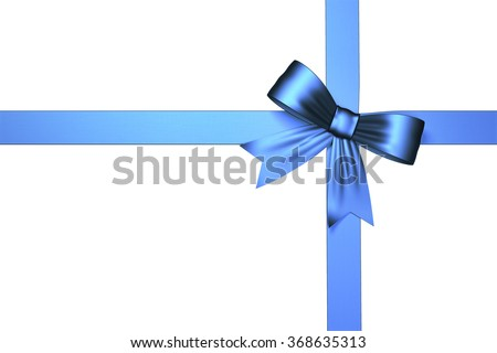 High quality render of a blue  ribbon with a bow. It is isolated on white background.The ribbon has a nice texture. Clipping path included.