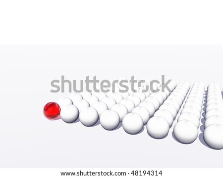 High resolution conceptual crowd of spheres with one red glass sphere standing out of the crowd