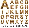 High resolution conceptual golden fonts set or collection isolated on white background, made of yellow metal similar to gold ideal for vintage,grungy,technology or holiday designs - stock vector