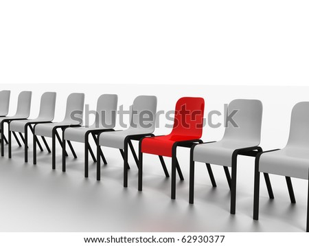 high resolution 3d render of modern chairs in a row isolated on white