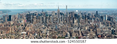 High resolution panoramic aerial view of New York City including several landmarks and the midtown skyline