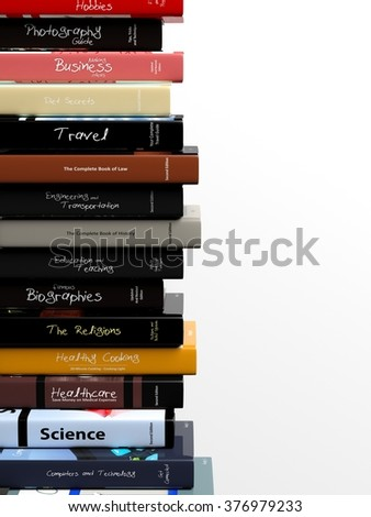 High stack of books with various subjects, isolated on white background.