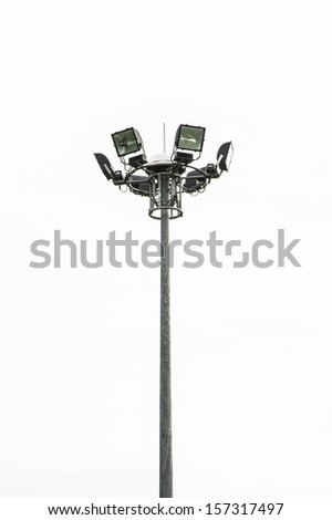 high tall stadium light isolated on white backgrounds