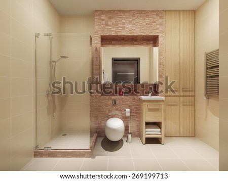 High-tech bathroom interior. 3d render