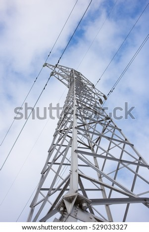 High voltage electric tower elements with evening sky background