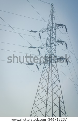 high voltage electricity post in vintage style