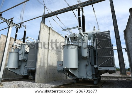 High voltage power transformer in substation