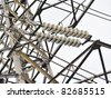 High voltage transmission power line and glass isolators - stock