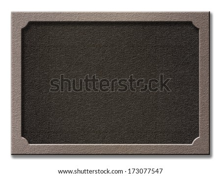 Highlighted nailed frame texture with plastic or stone effect. Empty board plate surface, shadowed same empty background with space for text, photo or image. Clipping path included
