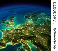 Highly detailed Earth, illuminated by moonlight. The glow of cities sheds light on the detailed exaggerated terrain. Central Europe. Elements of this image furnished by NASA - stock photo