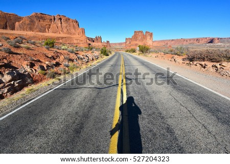 Highway at Arches National Park in Utah, USA
