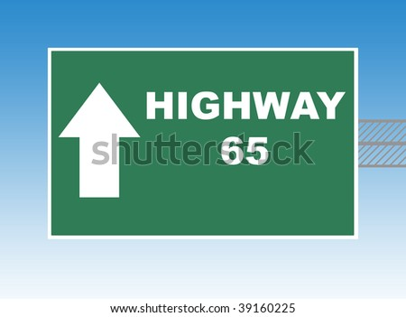 Highway 65 directional road sign, blue sky background.