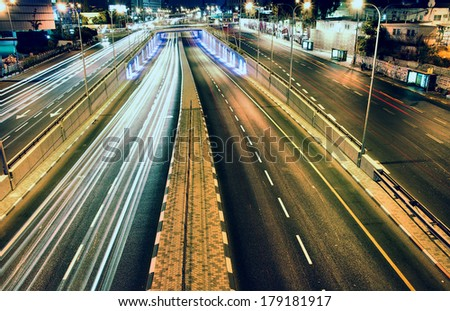 highway - long exposure - Tel Aviv Israel