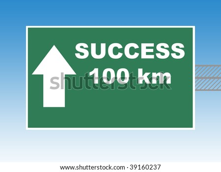 Highway or road sign pointing way to success in 100 kilometers, blue sky background.