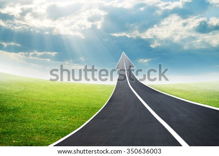 Highway road going up as an arrow in sky