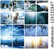 hikers in winter season collage - stock photo