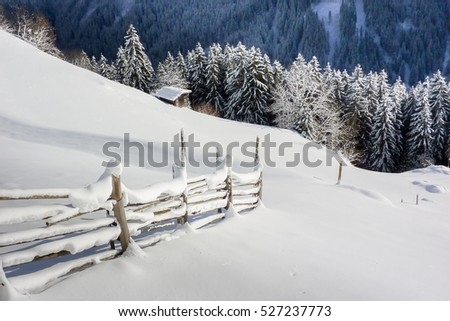Hiking trail through the snow landscape
