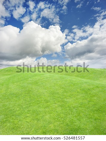 Hill covered with smooth green grass against the sky