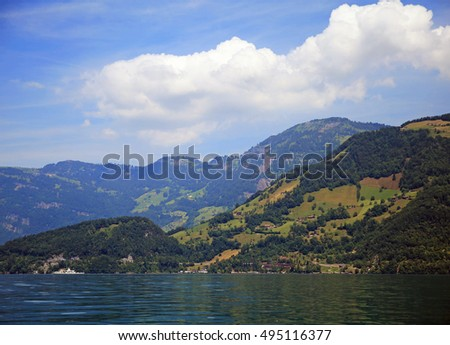 Hills and mountains over Lake Lucerne in Switzerland
