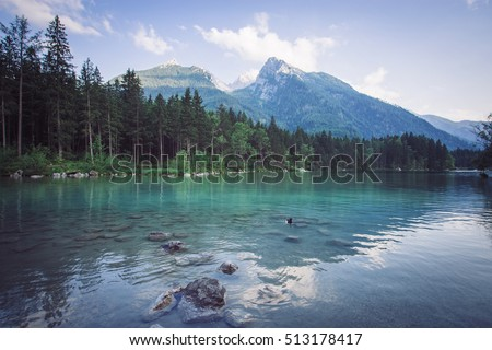 Hintersee lake with mountain Hochkalter in the Background