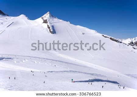 Hintertux Glacier with skiers, snowboarders, ski runs, pistes and ski lifts in Zillertal Alps in Austria