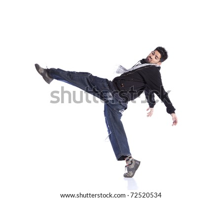 Hip hop dancer showing some movements (some motion blur)