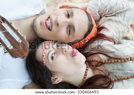 hippies couple in beautiful relax