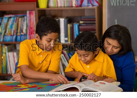 Hispanic Boys with Mom in Home-School Environment